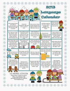 DECEMBER: Listening and Spoken Language Calendar Does this December calendar spark some ideas for time at home with your child  or in Auditory Verbal therapy sessions?