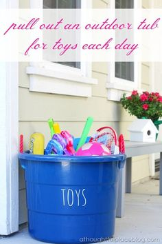 Have a tub outside for outside toys- before the kids come inside all the toys have to go back in the tub- saves toys being strewn all over the backyard! For when we eventually get a garden Outdoor Tub, Kids Outdoor Play, Outdoor Play Areas, Kids Play Area, Backyard For Kids, Diy For Kids, Backyard Ideas, Backyard Toys, Pool Ideas