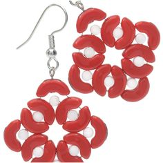Whimsically-shaped Arcos and Minos par Puca beads nestle into an abstract wreath design, forming a fun pair of earrings with a mod holiday flair.
