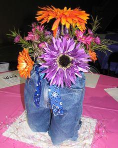 Divas in Denim Centerpieces - Mentoring Moments Blue Jean Wedding, Denim Wedding, Diamond Decorations, Diy Party Decorations, Centerpiece Ideas, Lavender Centerpieces, Table Centerpieces, Diamond Theme, Diamond Party