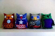 HOly Night! Owls AND comic book characters?? Win!  Avengers Owl Plush SetPick Any Two by CharacterCove on Etsy, $45.00