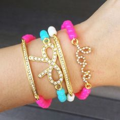 """Pave Love, Bow, & Bar Bead Bracelet Set Super Cute, Brand New, Set Of 4! (Actual color shown in first pic.) 15% off bundles. Material: 18k gold plated base, Resin Beads. Nickel & Lead Free! Please make all offers using the """"Offer"""" button located next to """"Buy Now"""" button. T&J Designs Jewelry Bracelets"""