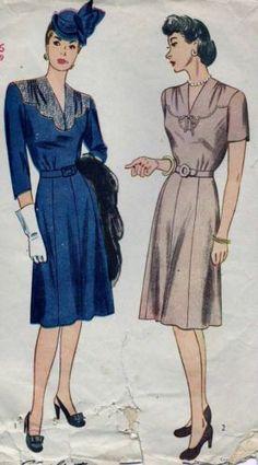 Vintage 40s 50s Dress Sewing Pattern 1470 B36