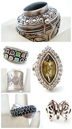 Vintage Sterling Silver Gemstone Rings - Southwestern, Poison, Butterfly, Sapphire, Topaz