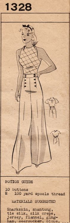 1930s Mail Order Barbara Bell 1328 - 3-Piece Ensemble - Wide-legged Pants, Halter-top & Blouse