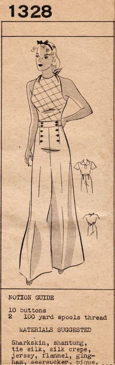 1930s Mail Order Barbara Bell 1328 - 3-Piece Ensemble - Wide-legged Pants, Halter-top & Blouse
