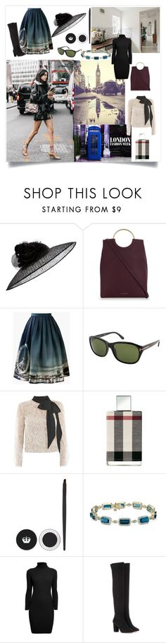 """""""Living in London"""" by robbys73 ❤ liked on Polyvore featuring Kurt Geiger, Chicwish, Tom Ford, Victor Xenia, Burberry, Rimmel, Rumour London and Aquazzura"""