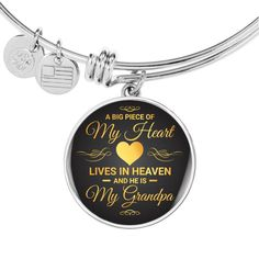 A Big Piece Of My Heart Lives in Heaven My Grandpa Memorial Circle Bra - Snappy Creations Working Mother, Working Moms, Dad Birthday, Birthday Gifts, Birthday Ideas, Birthday Nails, Bangle Bracelets, Bangles, Glass Coating