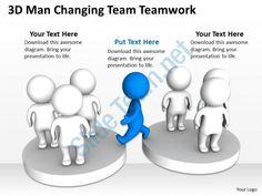3d man changing team teamwork ppt graphics icons Slide01