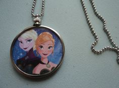 Frozen Elsa Anna sisters olaf Disney Snow Queen glass upcycled necklace by ImAsMADaSaHaTTeR