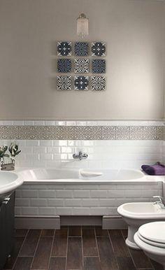 9 aisha on the wall - use cement tiles in creative ways! Cement Bathroom, Cement Tiles, Marrakesh, Bathrooms, Bathtub, Creative, Wall, Houses, Standing Bath