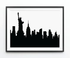 New York Skyline , NYC , New York Art , New York City Silhouette Print