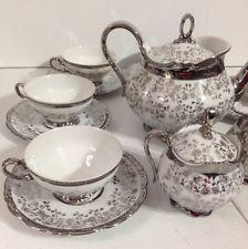 Antique German Schirnding Bavaria Complete Tea Set for 6 Platinum Floral