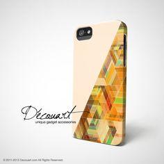 Geometric iPhone 5 case iPhone 4 case cream papaya by Decouart, $23.99