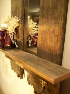 Rustic Barnwood Framed Mirror And Shelf With Coat Hook - Ooak