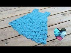 Princess dress crochet all sizes (english subtitles) Crochet Baby Dress Free Pattern, Baby Dress Patterns, Baby Girl Crochet, Crochet Baby Clothes, Crochet Motifs, Crochet Patterns, Loom Knitting, Baby Knitting, Lidia Crochet Tricot