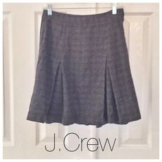 "Plaid Wool J.Crew Skirt Gray plaid J. Crew skirt. 65% wool, 35% viscose. Size 2. NWOT. Never been worn and in perfect condition! Measurements: 13.5"" waist, 28.5"" long. No PP, trades, or holds. Thanks for looking and happy poshing! J. Crew Skirts"