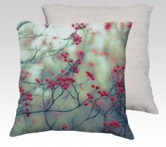 Winter Berries Red Photography Throw Pillows Home by DreameryPhoto, $35.00