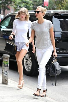 BFF's Taylor Swifts and Karlie Kloss take their denim paired with soft cotton tees. - HarpersBAZAAR.com
