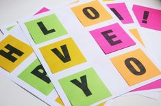 Template for printing on post-its - make a colorful banner!