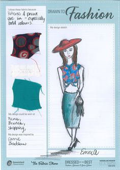 """Drawn to Fashion: visitor designs inspired by the work of Queensland designer Gwen Gillam. """"Dressed by the Best: Fashion, Glamour & Gwen Gillam"""" is on at Queensland Museum until 24 February 2013. #vintage  #fashion  #design  #1950s  #1960s"""