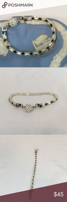 """Black & Clear Swarovski Crystal Tennis Bracelet Vintage Swarovski crystals in black rounds with clear crystal rectangles.  Finished with clasp in sterling silver.  7 1/2"""". Handmade by me. 🚫No trades🚫 ps-creations Jewelry Bracelets"""