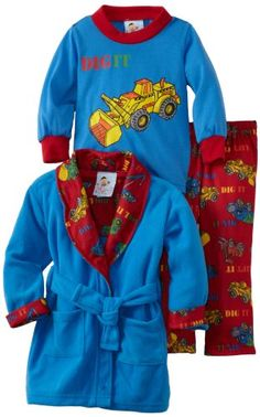 Baby Bunz Baby-boys Infant LB Dig It Robe and Pajama Set, Classic Red, 24 Months - http://www.discoverbaby.com/maternity-clothes/sleepwear/baby-bunz-baby-boys-infant-lb-dig-it-robe-and-pajama-set-classic-red-24-months/