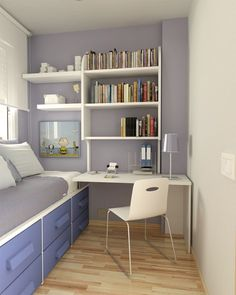 Single bedroom interiors with modern desk and chair