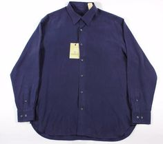 $130 TOMMY BAHAMA M 100% SILK NAVY LONG SLEEVE MEN'S BUTTON-FRONT SHIRT NWT #TommyBahama #ButtonFront