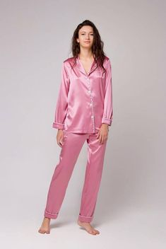 c8688b3735 Silk pajama set with pants Silk pyjamas Womens pajamas Silk pajama set for  women Bridal pyjamas Pink pajama Unique Christmas gift for women