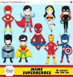 50% OFF MINI SUPERHEROES Digital Clipart, Batman and Robin, Superman, Iron Man, Wonder Woman, Flash, Spiderman, Cat Woman, Justice League by FlairGraphicDesign on Etsy https://www.etsy.com/listing/206592670/50-off-mini-superheroes-digital-clipart
