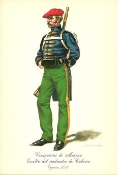 Spain; Carlists; Infantry Marinas Escolta de Cabrera, 1847 Army History, Human Emotions, Napoleonic Wars, Armed Forces, 19th Century, Sailor, Illustration, Spanish, Joker