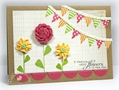 Card-making competetion - cute way to use ric rac for the flowers Paper Crafts Magazine, Creating Keepsakes, Ribbon Cards, Circle Punch, Close To My Heart, Flower Cards, Cute Cards, Card Making, Gift Wrapping