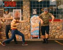 Hot Rod, the funny dance scene in the parking lot