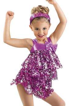 Girls' Mesh Sequin Ruffle Dress; Weissman Costumes