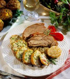 Lajos Mari konyhája - Pulykacomb zöldborsós-sonkás muffinnal Salmon Burgers, Meat Recipes, Muffin, Channel, Drink, Ethnic Recipes, Food, Beverage, Essen