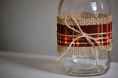 plaid and burlap wrapped mason jars