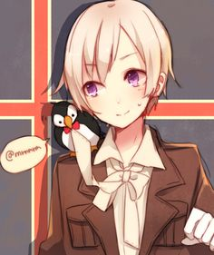 Hetalia - Emil Bondevik (headcanon name for Iceland). For once, Puffin doesn't look crazy. Image by Yugake (mrnmrm) via Zerochan