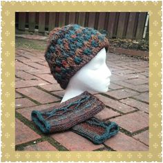 Crocheted hat and fingerless glove set