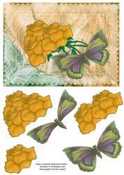Gouden Rozen Met Vlinder Op Perkament - het even welke Kaart