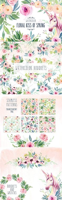 Create beautiful invitations, stationery and more with this watercolor flower package. The package includes 77 PNG files Watercolor illustration flowers, roses, peonies, ranunculus, anemones, leaves, twigs, bouquets, unicorn, berries. 5 PNG files seamless beautiful floral pattern. 3 JPEG Watercolor gentle shades backgrounds high resolution.
