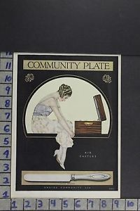 1918 ILLUS COLES PHILLIPS ART ONEIDA CUTLERY KNIFE KITCHEN FASHION AD ZL088