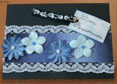 Carte anniversaire, thème fleuri, coloris noir et bleu
