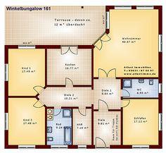 Winkelbungalow 161 Einfamilienhaus Neubau Massivbau Stein auf Stein