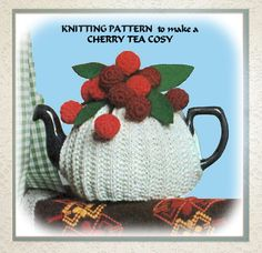 Tea Cosy Topped with a bunch of Red Cherries Vintage 1970s English Knitting Crochet Pattern