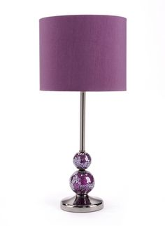 Luxe 091208    Purple Colored Glass & Metal Table Lamp w/Linen Shade, (Requires Type A Bulb, Maximum 100 Watts, CUL Approved)