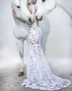 White horses, white dress