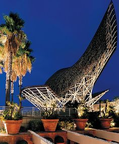 Frank Gehry sculpture on the waterfront in Barcelona.  Absolutely one of the most beautiful   Cities in the world!