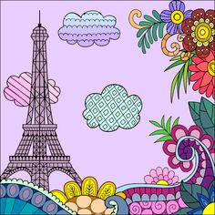My Coloring Book Coloring Book App, Coloring Apps, Online Coloring, Colouring Pages, Torre Eiffel Paris, Tour Eiffel, Colorful Drawings, Colorful Pictures, Color By Numbers