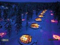 Hotel & Igloo Village Kakslauttanen and Santa's Resort - Saariselka, Finland - magical christmas, under the northern lights! Go on a dog seld ride & visit the Santa Claus village Igloo Village, Village Hotel, Le Village, Lappland, Dream Vacations, Vacation Spots, Glass Igloo Hotel, The Places Youll Go, Stars